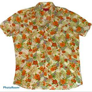 HUGO Hugo Boss Floral Poppy Casual Button Shirt L